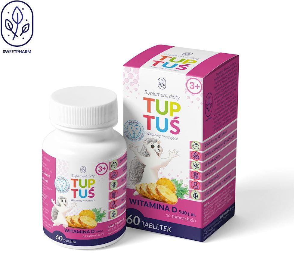 Witamina d o smaku ananasowym na kości dla dzieci od 3 roku życia 60 tabletek musujących - tuptuś