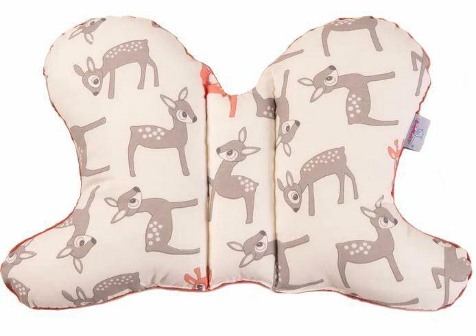 Poduszka pozycjonująca Motylek sarenki biała ciemny różowy pudrowy 01