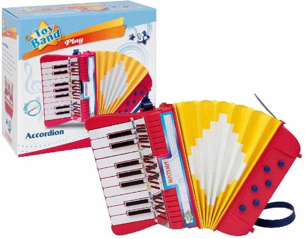 Bontempi 33 1780 akordeon z 17 przyciskami (C-E) i półtonami. 6 basów. Pasek do noszenia w zestawie. Wymiary 210 x 120 x 210 mm
