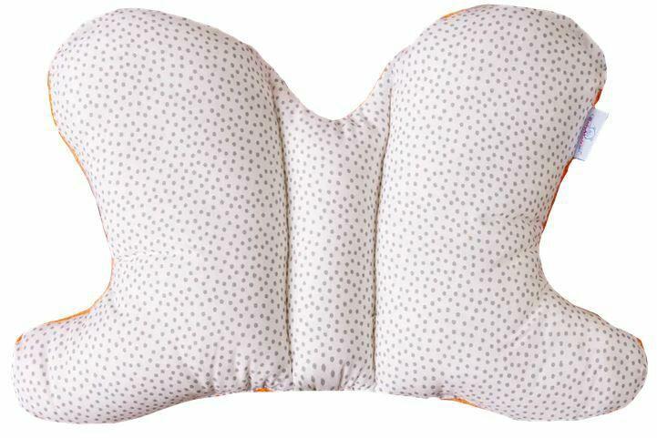 Poduszka pozycjonująca Motylek biała pomarańczowa groszki 05