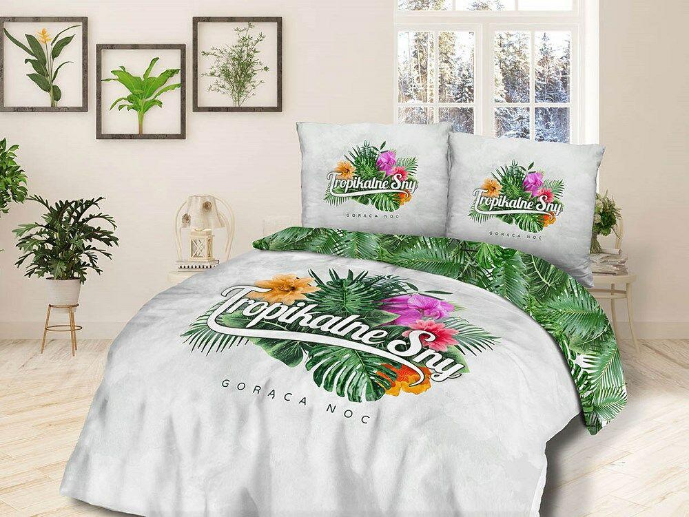 Pościel bawełniana 220x200 Tropikalne sny Gorąca noc kwiaty liście monstery biała zielona 61472/1 Panelove 7781