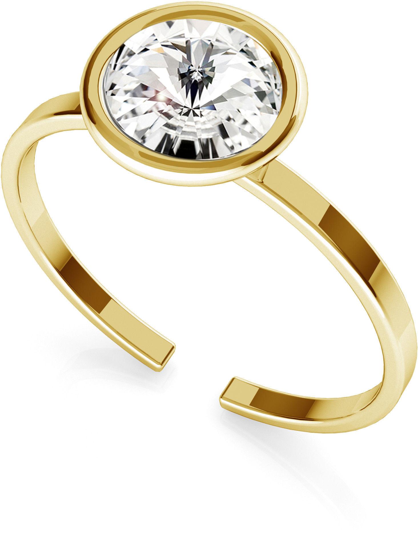 Srebrny pierścionek z kryształem Rivoli My RING, srebro 925 : Srebro - kolor pokrycia - Pokrycie żółtym 18K złotem, SWAROVSKI - kolor kryształu - Crystal
