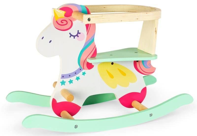 Drewniany koń na biegunach dla dzieci Jednorożec 246258, zabawki bujane