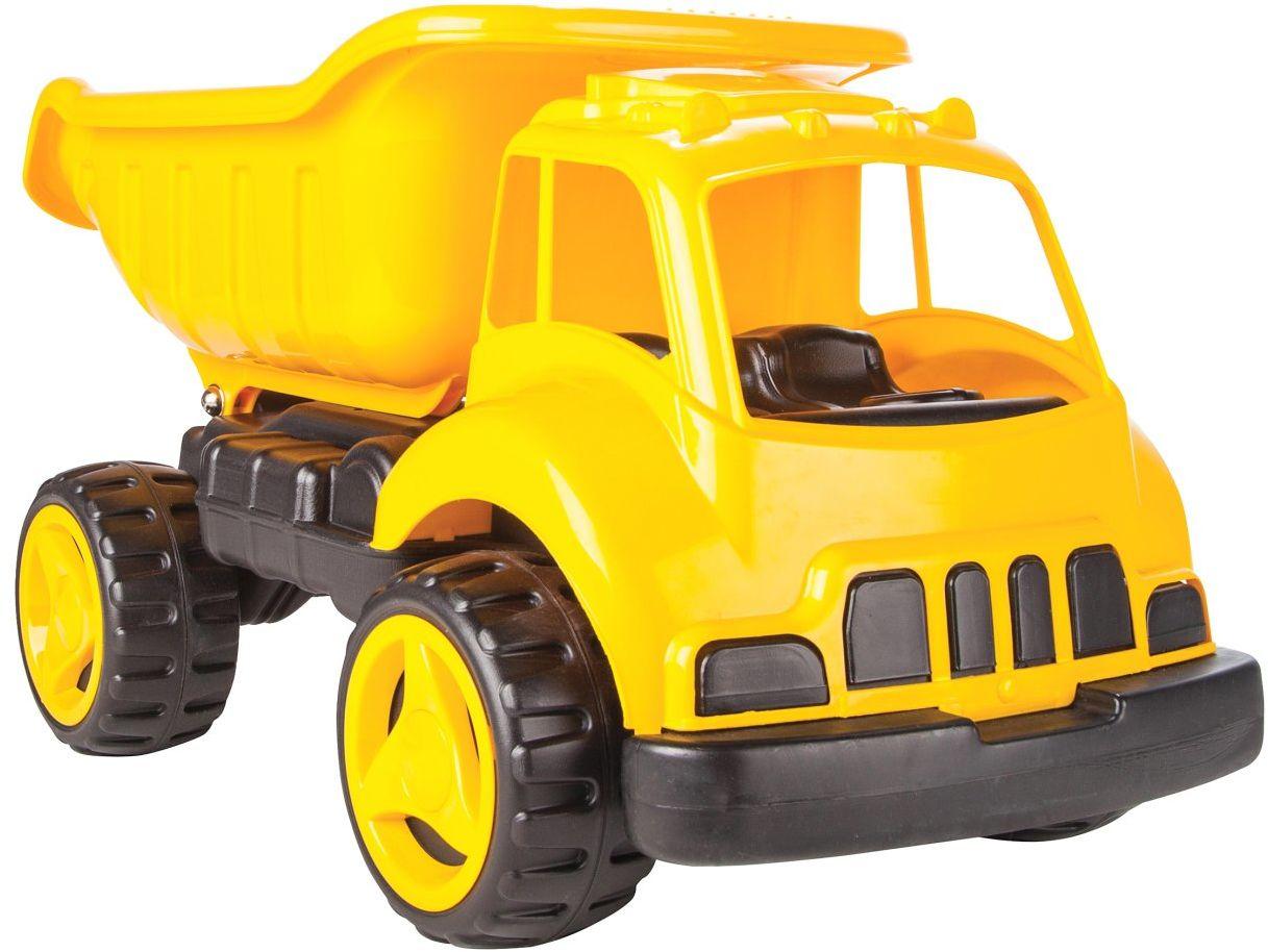 Jamara 460269 460269-piaskownica samochodowa XL żółta  pojemność ok. 40 kg, powierzchnia ładunkowa, przechylana, wytrzymały plastik