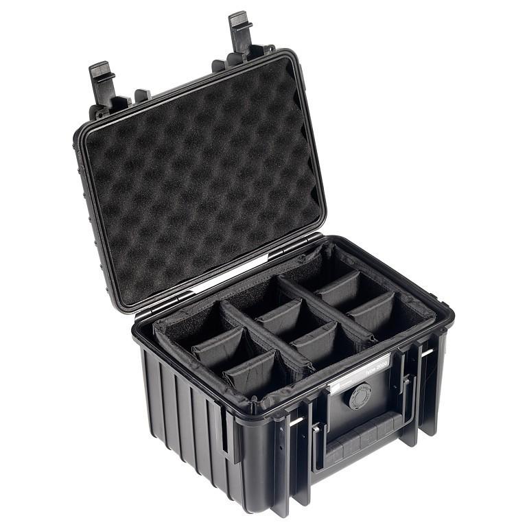 Walizka transportowa B&W outdoor.cases Typ 2000 RPD z przegrodami Czarna - WYSYŁKA W 24H