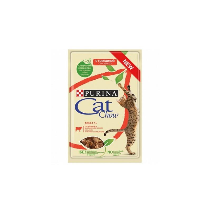 Saszetka Cat Chow wołowina i bakłażan w galarecie 85g