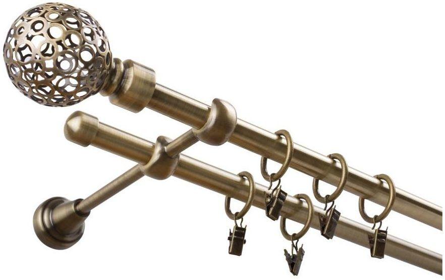 Karnisz Kula Retro 240 cm podwójny antyczne złoto 16 mm