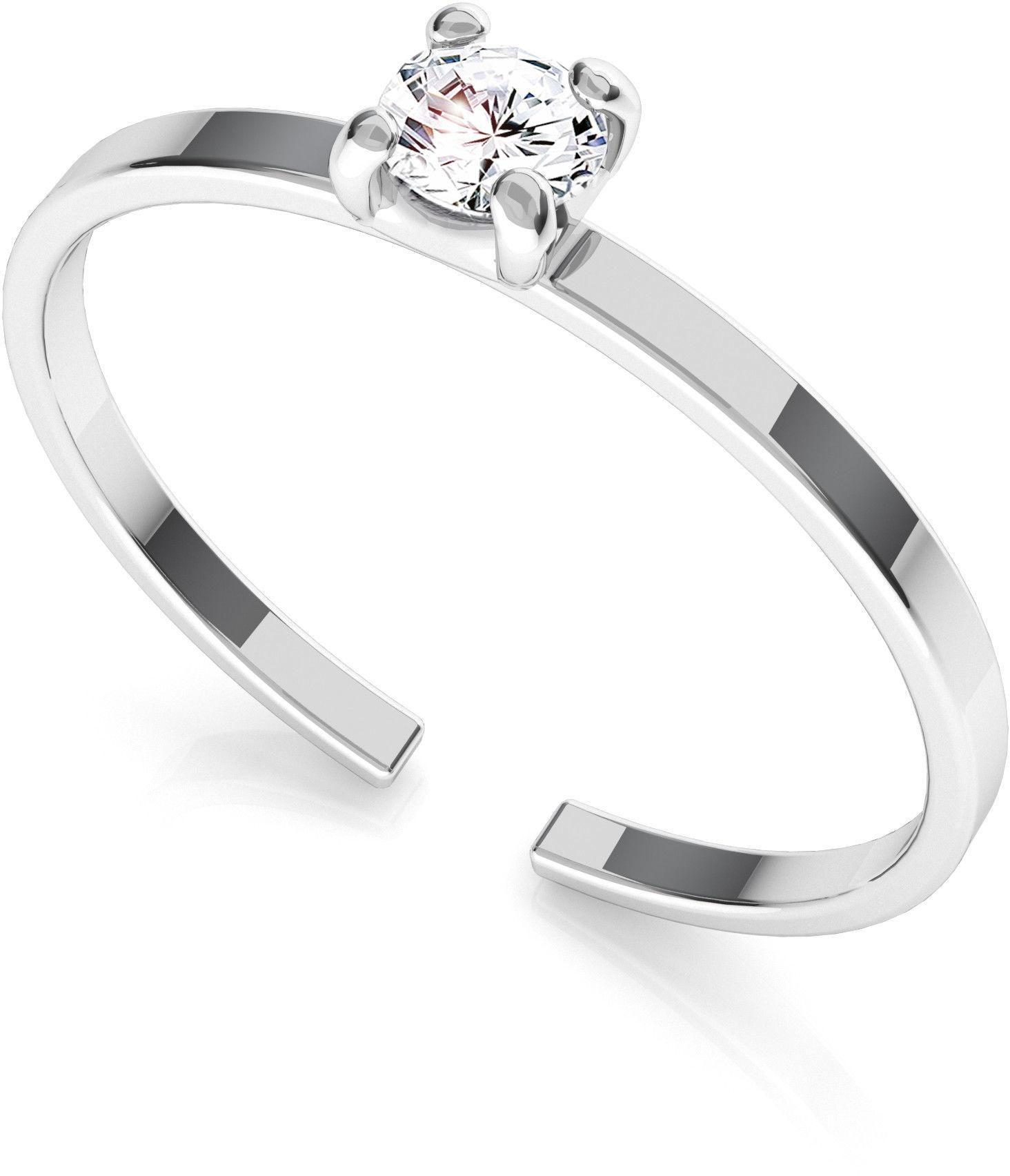 Srebrny pierścionek z cyrkonią 3mm My RING, srebro 925 : Srebro - kolor pokrycia - Pokrycie platyną