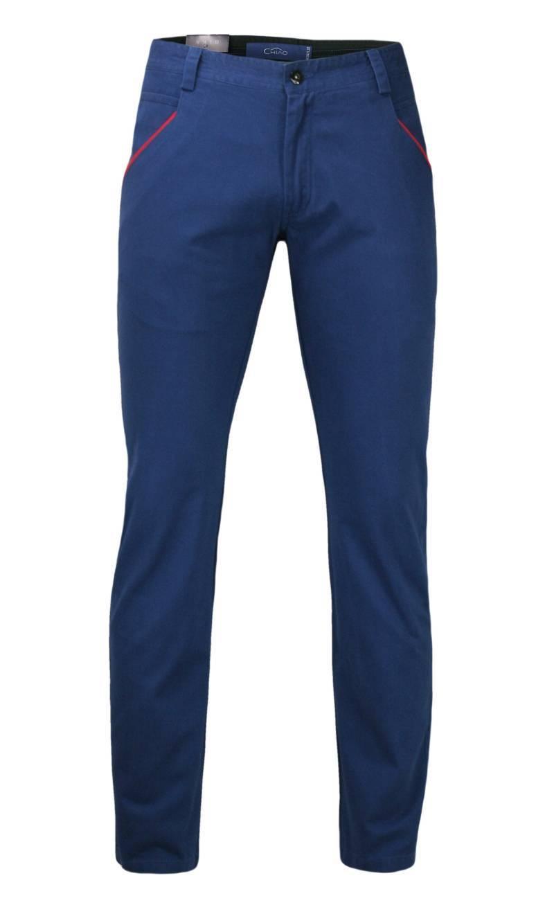 Bawełniane Spodnie Męskie, CHINOSY, Kolorowe Wykończenia, Chabrowe SPCHIAO15M2A02chaber