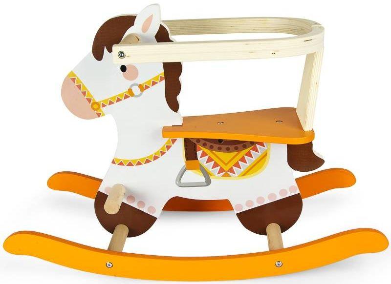 Drewniany koń na biegunach dla dzieci Tadzik 246257, zabawki bujane