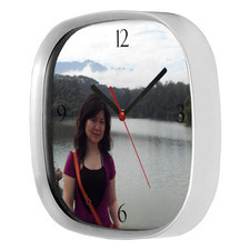 Zegar LOGO kwadrat srebrny