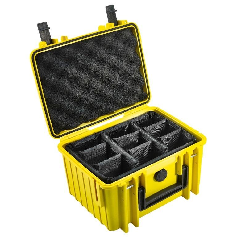 Walizka transportowa B&W outdoor.cases Typ 2000 RPD z przegrodami Żółta - WYSYŁKA W 24H