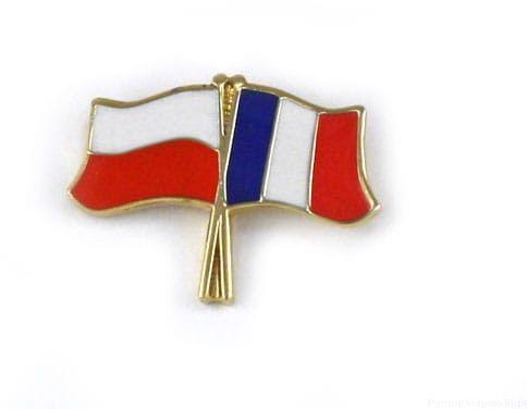Flaga Polska - Francja, przypinka