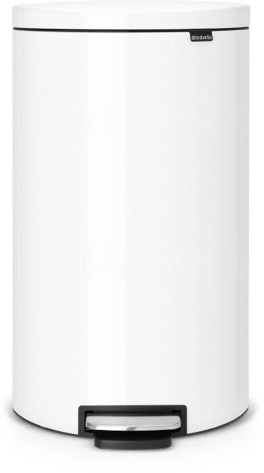 Brabantia - kosz pedałowyflatblack+ silent - wiaderko plastikowe  30l - biały