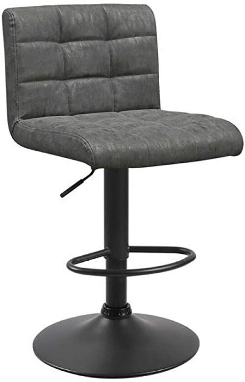 ZONS Szary 2 sztuki stołek Seattle z obrotowym oparciem do zawieszenia, z PU, rozmiar XL