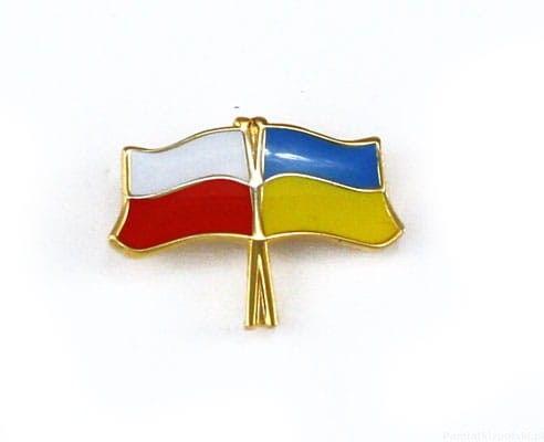 Flaga Polska - Ukraina, przypinka