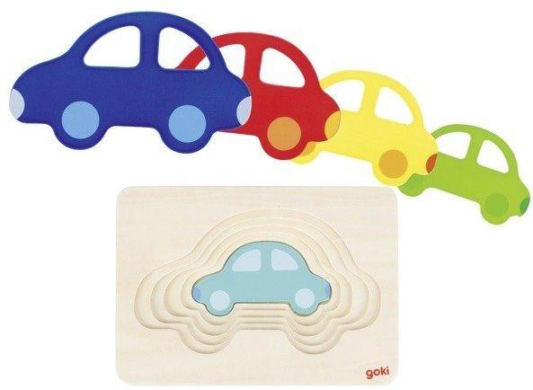Drewniane puzzle warstwowe Kolorowe auta 57485-Goki, układanki dla dzieci