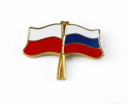 Flaga Polska - Rosja, przypinka