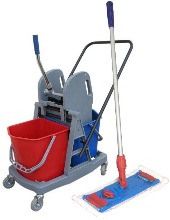 Wózek do sprzątania dwuwiaderkowy 2x 17L z mopem płaskim 40 cm Wózki do sprzątania