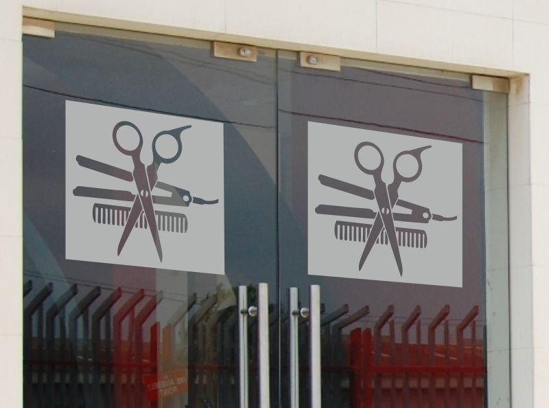 Naklejka fryzjerska z nożyczkami