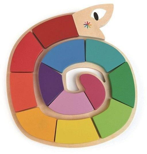 tender leaf toys - Drewniana Zabawka - Kolorowy Wąż, Kolory i Kształty, Tender Leaf Toys