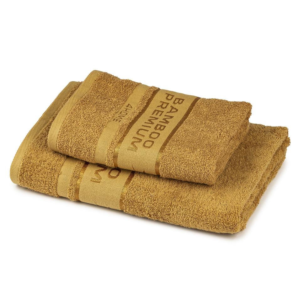 4Home Komplet Bamboo Premium ręczników jasnobrązowy, 70 x 140 cm, 50 x 100 cm