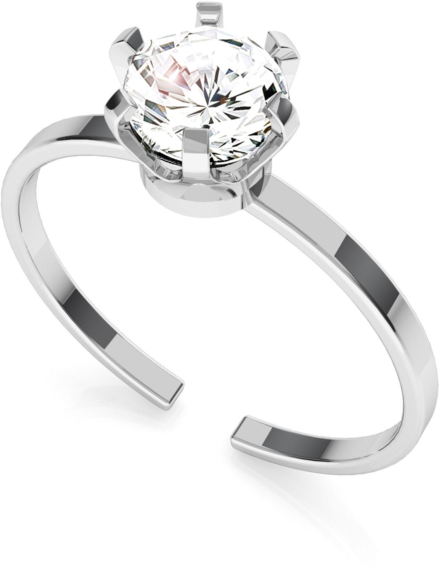Srebrny pierścionek z cyrkonią 6mm My RING, srebro 925 : Srebro - kolor pokrycia - Pokrycie platyną