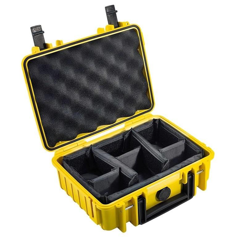Walizka transportowa B&W outdoor.cases Typ 1000 RPD z przegrodami Żółta
