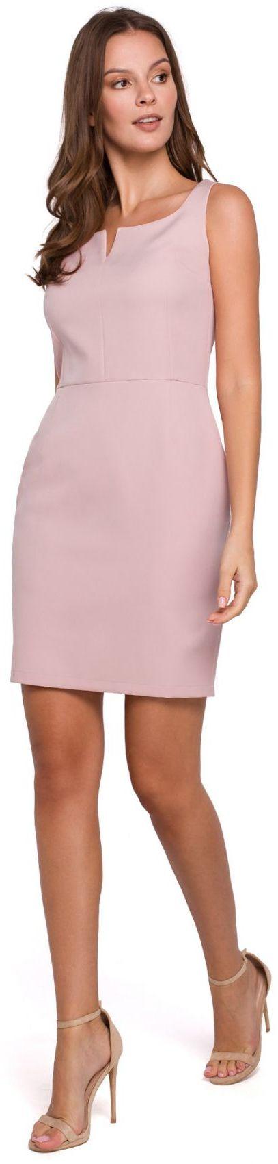 K022 Sukienka mini z dekoltem karo - brudny róż