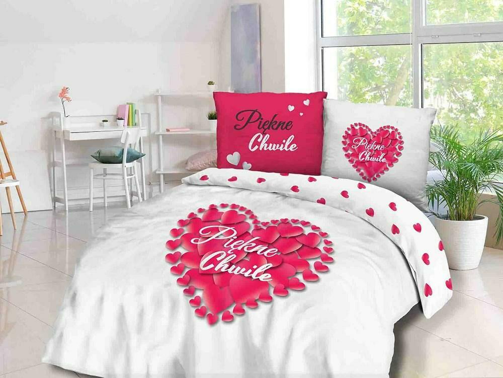 Pościel bawełniana 160x200 Piękne chwile serce serca serduszka biała różowa 61467/1 Panelove 0685