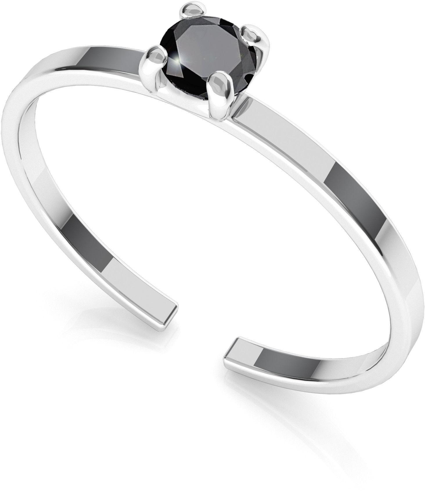 Srebrny pierścionek z diamentem 3mm My RING, srebro 925 : Srebro - kolor pokrycia - Pokrycie platyną
