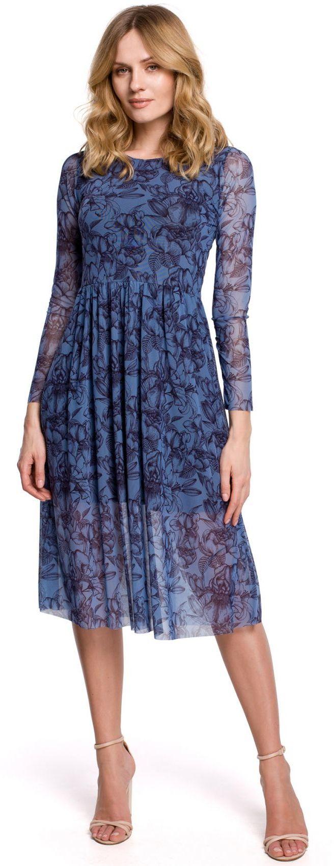 K064 Sukienka rozkloszowana z siatki z nadrukiem - model 1