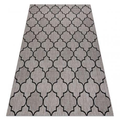DYWAN SZNURKOWY SIZAL FLOORLUX 20607 , koniczyna marokańska, trellis srebrny / czarny 60x110 cm