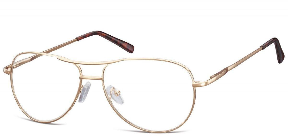 Zlote Okulary oprawki Pilotki metalowe korekcyjne 699B