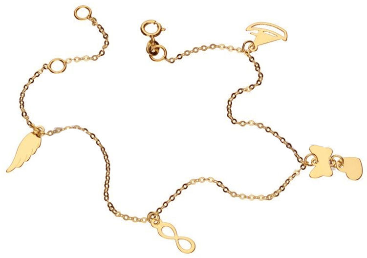 Złota bransoletka 333 modne zawieszki celebrytka 0,87 g