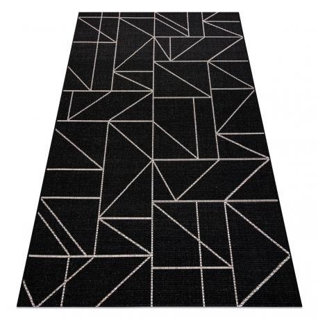DYWAN SZNURKOWY SIZAL FLOORLUX 20605 black / silver TRÓJKĄTY, GEOMETRYCZNY 80x150 cm