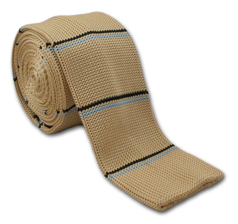 Stonowany, Dziergany Męski Krawat Knit w Prążek - 5,5 cm - Alties, Cielisty KRALTS0114