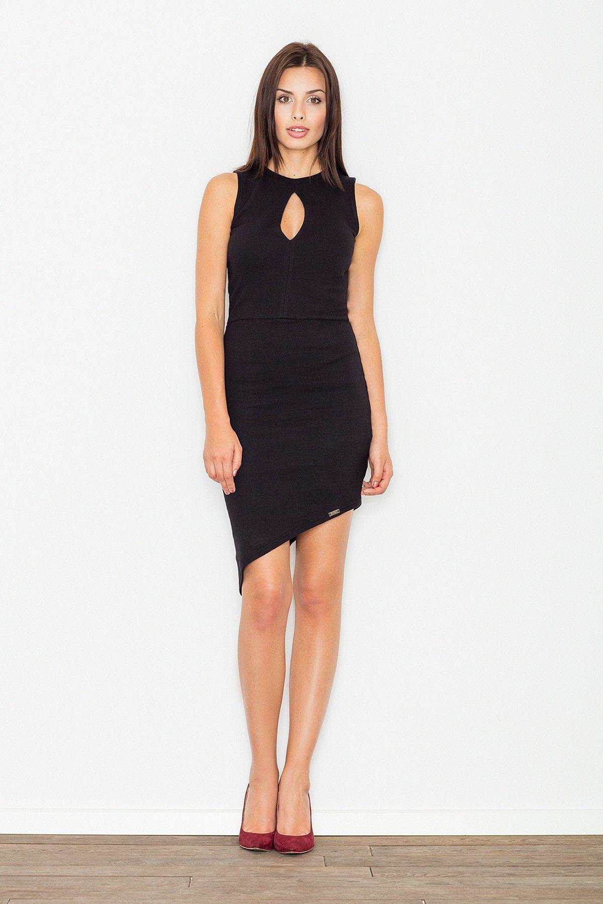 Czarna asymetryczna dopasowana sukienka z łezką