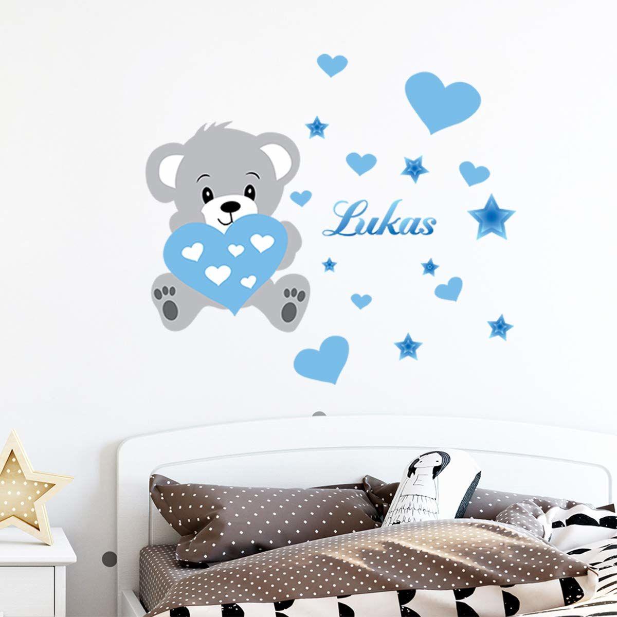 Spersonalizowane naklejki z imieniem tatuaż ścienny niedźwiedź dekoracja ścienna do pokoju dziecięcego 2 arkusze po 30 x 35 cm i 50 x 30 cm