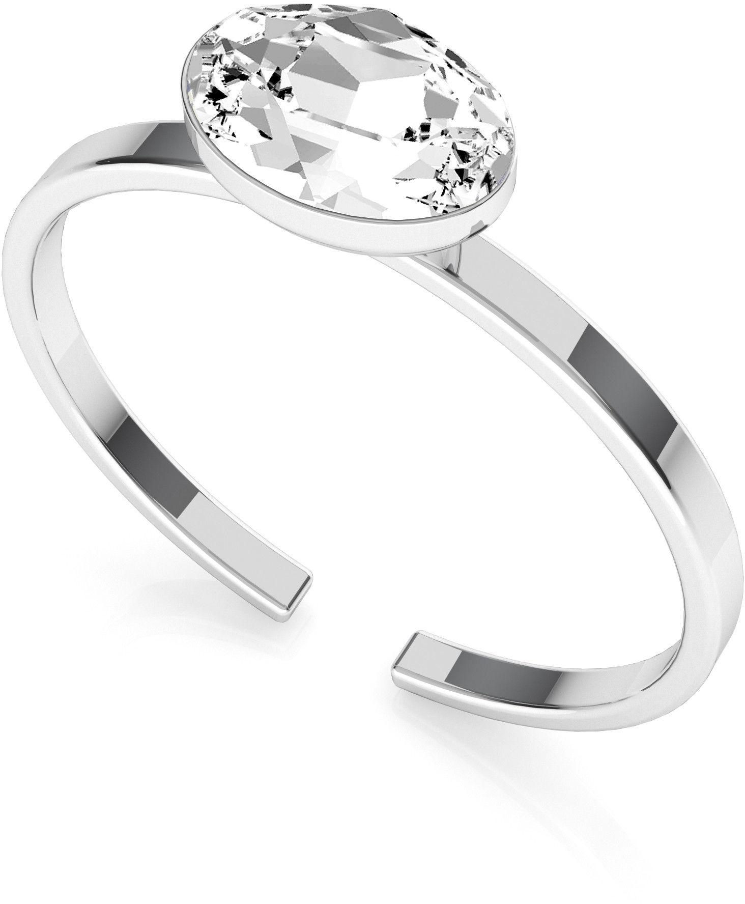 Srebrny pierścionek z owalnym kryształem Rivoli My RING, srebro 925 : Srebro - kolor pokrycia - Pokrycie platyną, SWAROVSKI - kolor kryształu - Crystal