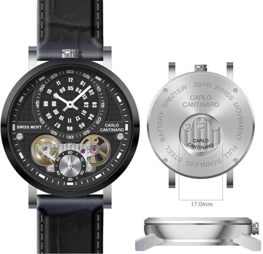 Carlo Cantinaro CC1004GL007 Zegarek męski Quartzmatic GMT