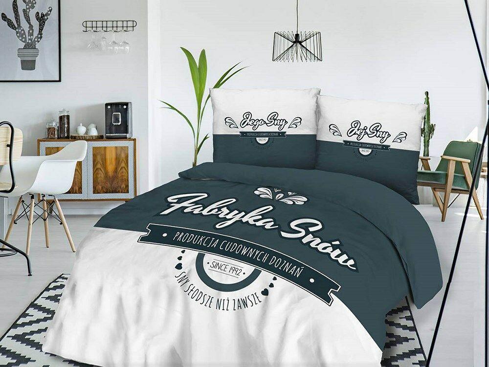Pościel bawełniana 160x200 Fabryka snów produkcja cudownych doznań Jego Jej sny grafitowa biała 61471/1 Panelove 4683