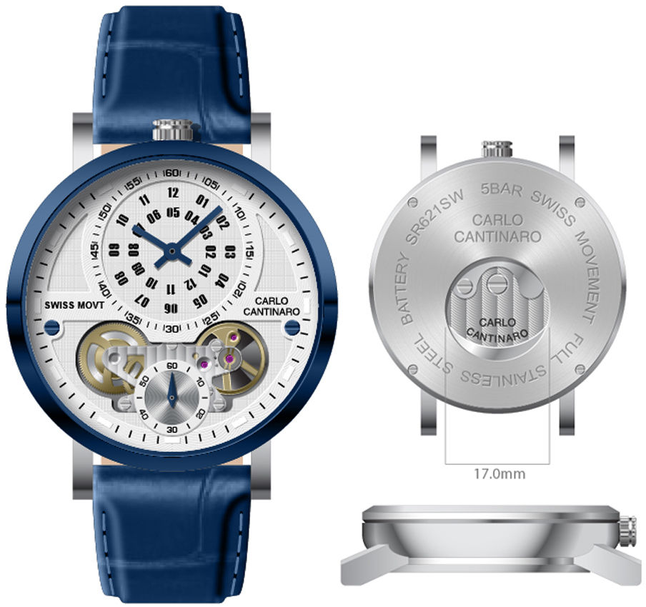 Carlo Cantinaro CC1004GL008 Męski zegarek Quartzmatic GMT