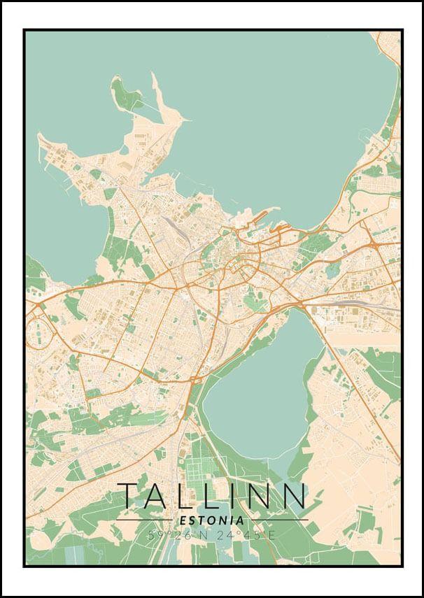 Tallin mapa kolorowa - plakat wymiar do wyboru: 20x30 cm