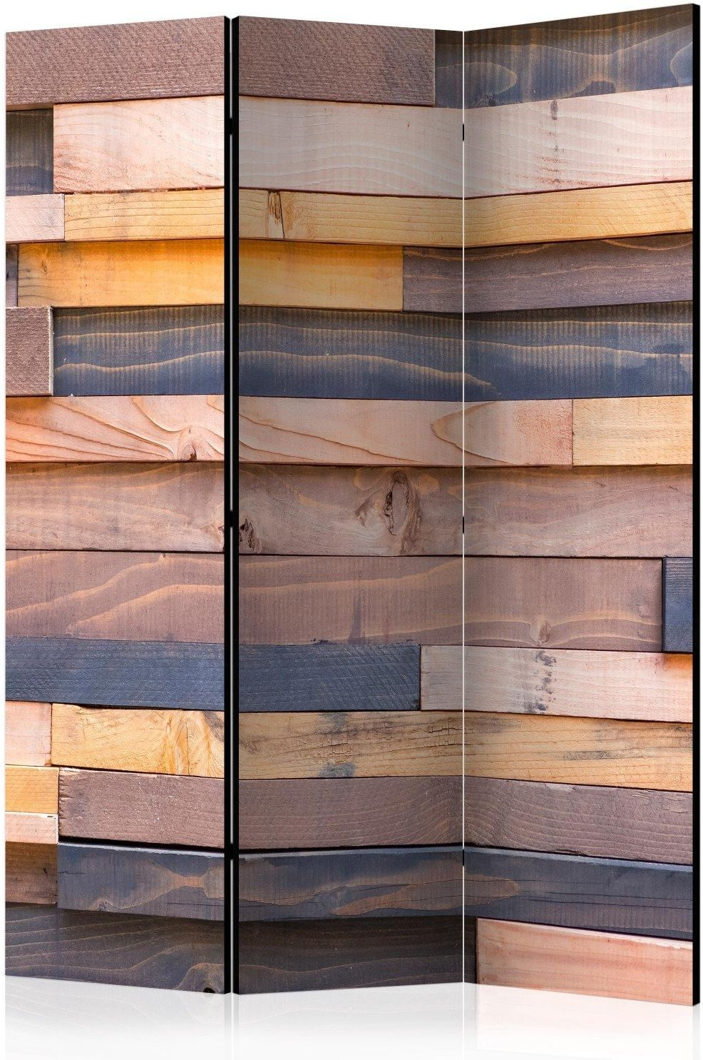 Parawan 3-częściowy - drewniany zamek [room dividers]