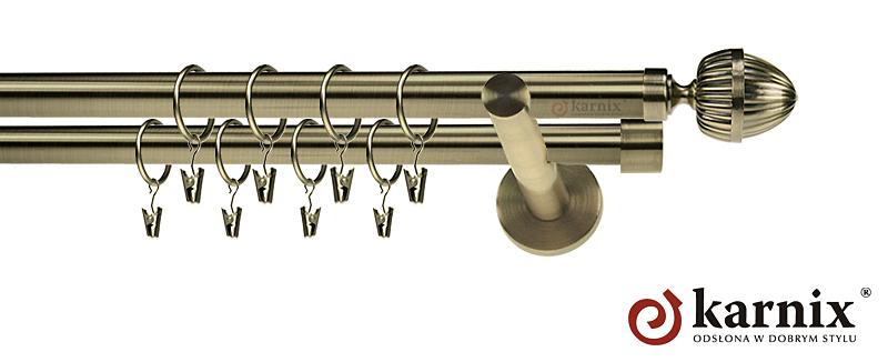 Karnisze nowoczesne NEO podwójny 19/19mm Milano antyk mosiądz