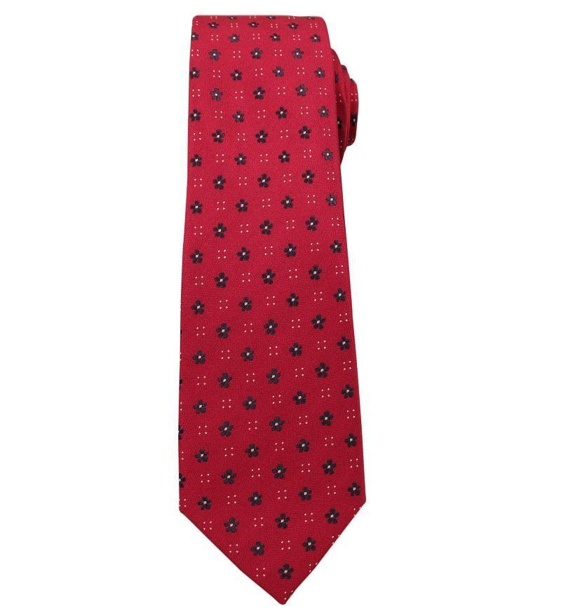 Krawat Męski, Czerwony w Drobne Kwiatki - Angelo di Monti KRADM1398