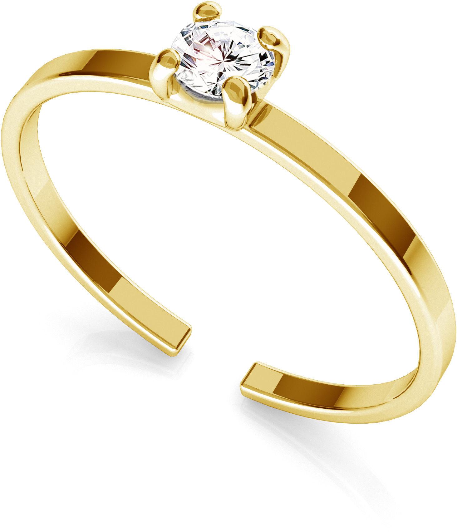 Srebrny pierścionek z cyrkonią 3mm My RING, srebro 925 : Srebro - kolor pokrycia - Pokrycie żółtym 18K złotem
