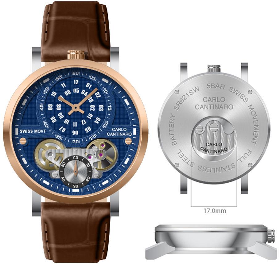 Carlo Cantinaro CC1004GL011 Zegarek męski Quartzmatic GMT