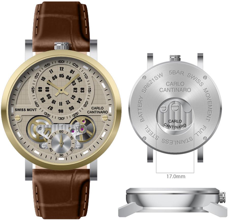 Carlo Cantinaro CC1004GL012 Zegarek męski Quartzmatic GMT